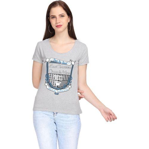 SharkTribe Printed Women Round Neck Grey T-Shirt