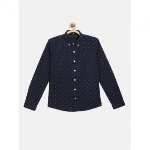 Tommy Hilfiger Blue & White Cotton Printed Regular Fit Shirt