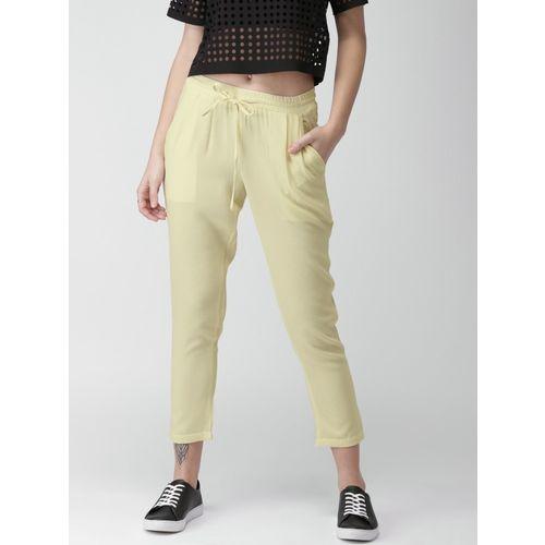 Mast & Harbour Regular Fit Women Cream Trousers