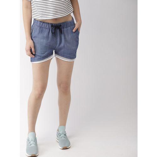 Mast & Harbour Solid Women Blue Regular Shorts