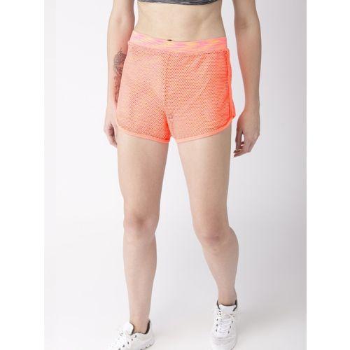 Mast & Harbour Self Design Women Orange Regular Shorts