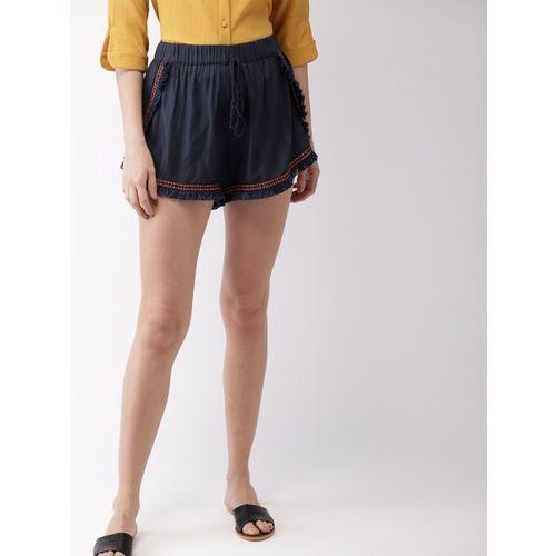 Mast & Harbour Solid Women Dark Blue Regular Shorts