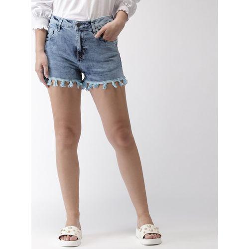 Mast & Harbour Washed Women Blue Denim Shorts