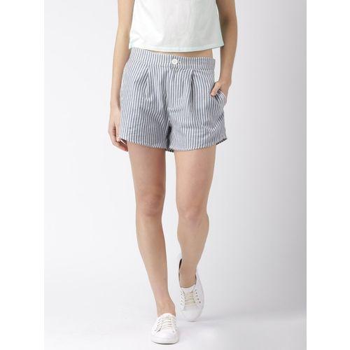 Mast & Harbour Striped Women Blue, White Hotpants