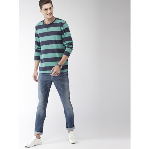 Mast & Harbour Striped Men Henley Neck Dark Blue T-Shirt