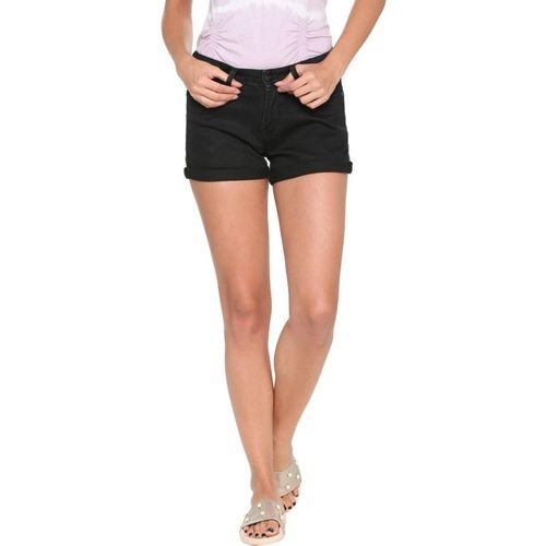People Solid Women Black Basic Shorts