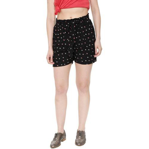 People Printed Women Black Regular Shorts