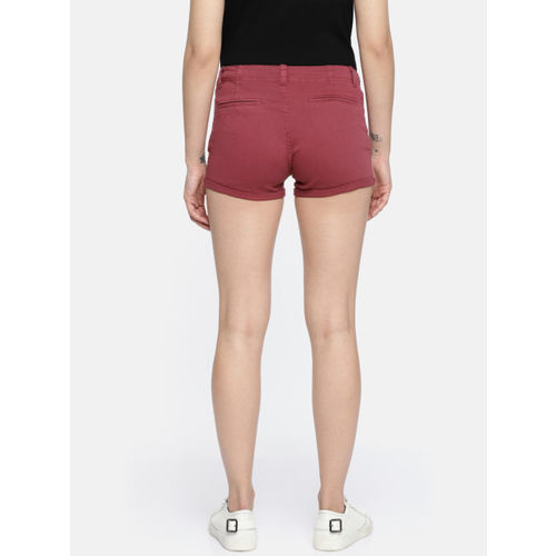 People Women Maroon Solid Regular Fit Regular Shorts