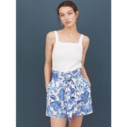 H&M Women White & Blue Printed Paper Bag Shorts