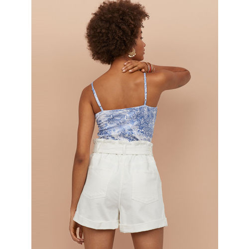 H&M Women White Solid Denim paper bag shorts