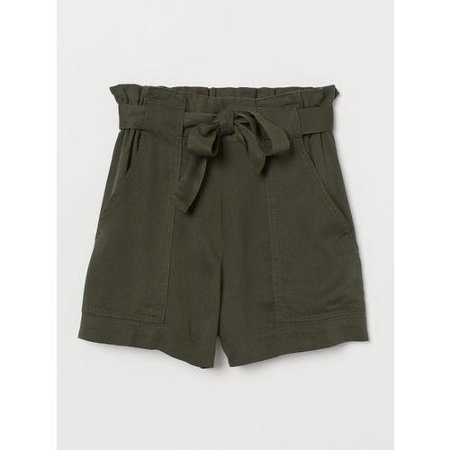 H&M Women Green Paper Bag Shorts