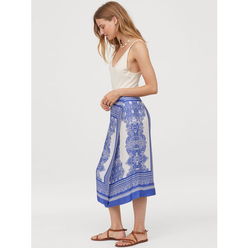 H&M Women White and Blue Satin Wrapover skirt