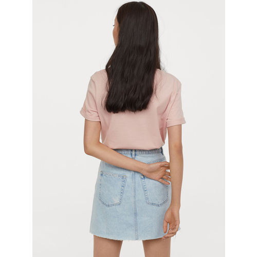 H&M Women Blue Solid Denim Skirt