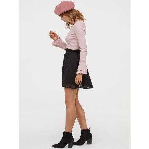 H&M Women Black Solid Short Chiffon Skirt