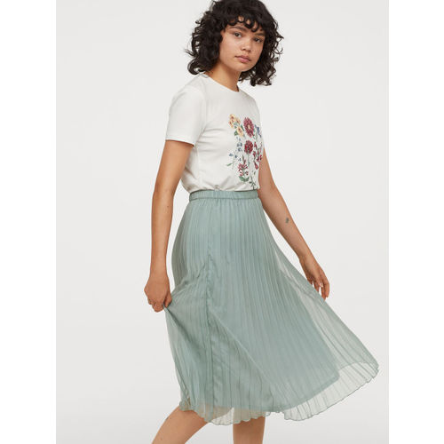H&M Women Mint Green Solid Pleated Skirt