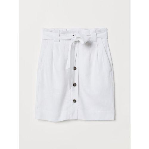 H&M White Linen Viscose Solid Paper Bag Skirt
