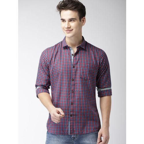 Mast & Harbour Men Checkered Casual Purple Shirt