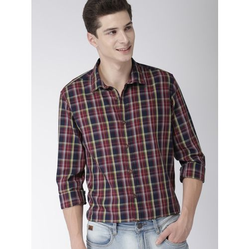 Mast & Harbour Men Checkered Casual Maroon Shirt