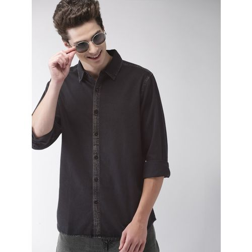 Mast & Harbour Men Solid Casual Black Shirt
