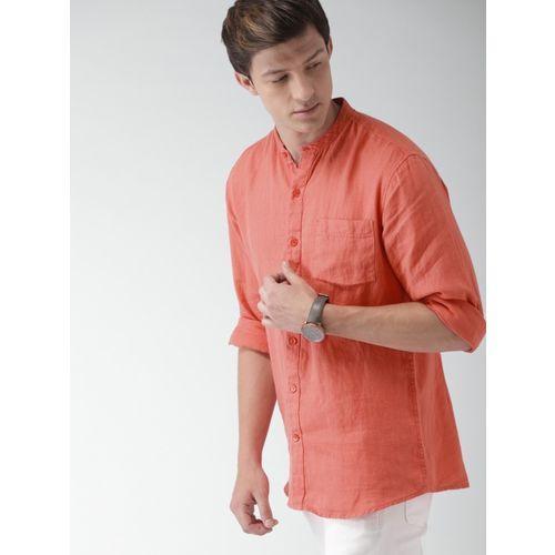 Mast & Harbour Men Solid Casual Orange Shirt