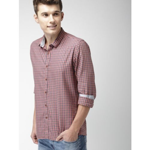 Mast & Harbour Men Checkered Casual Pink Shirt