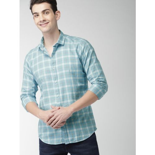 Mast & Harbour Men Checkered Casual Light Blue Shirt