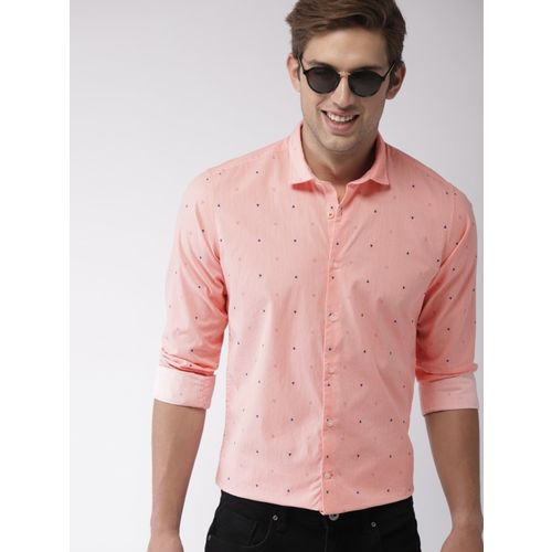 Mast & Harbour Men Printed Casual Pink Shirt