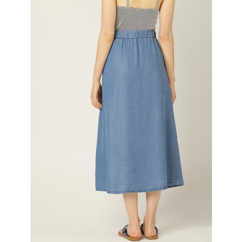 MANGO Women Blue Solid Chambray A-Line Skirt