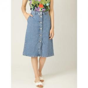 MANGO Women Blue Solid Denim A-line Skirt