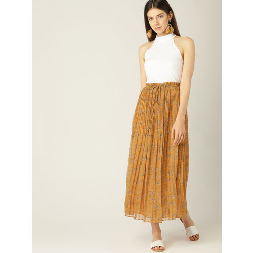 MANGO Women Mustard Yellow & Blue Accordion Pleats Printed A-Line Skirt