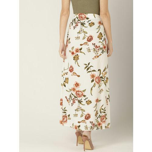 MANGO Women White & Peach-Coloured Printed A-line Skirt