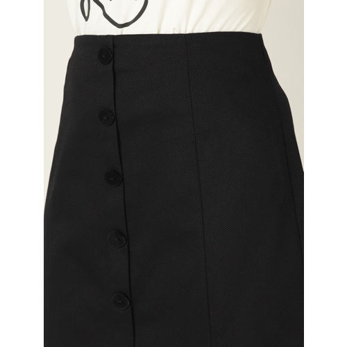 MANGO Women Black Solid A-Line Skirt