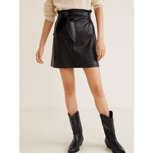 MANGO Women Black Solid Mini A-Line Skirt