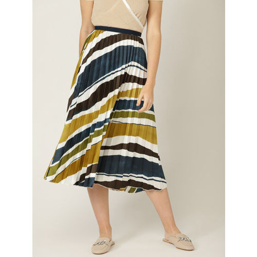 MANGO Women White & Teal Blue Striped Accordion Pleats A-line Skirt