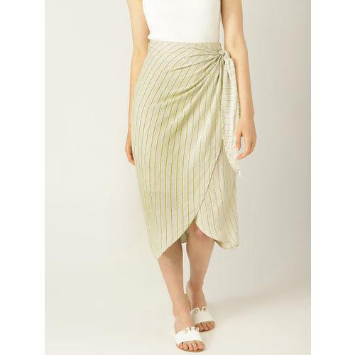 MANGO Women Beige & Green Striped Tulip Skirt