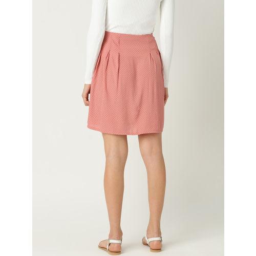 MANGO Women Peach-Coloured & White Printed A-Line Skirt