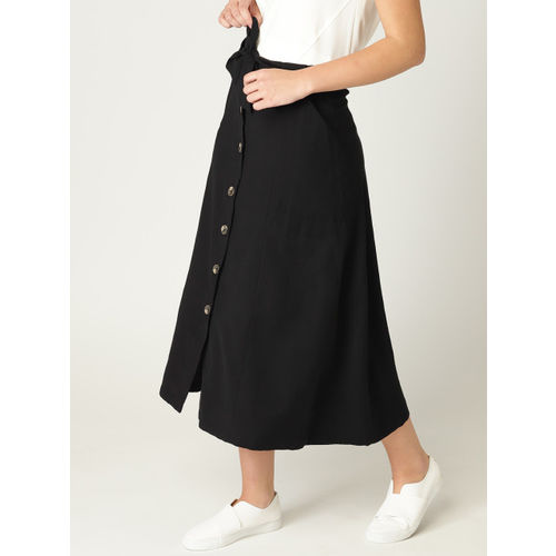 MANGO Women Black Solid Midi A-Line Skirt