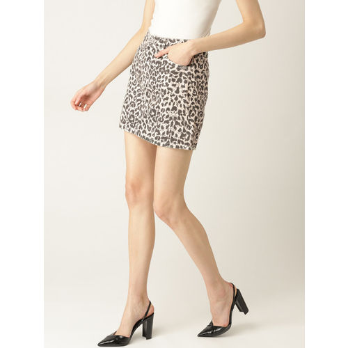 MANGO Women Beige & Black Animal Print Denim Skirt