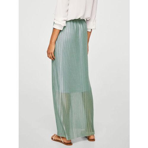 MANGO Grey Accordion Pleat Maxi Straight Skirt