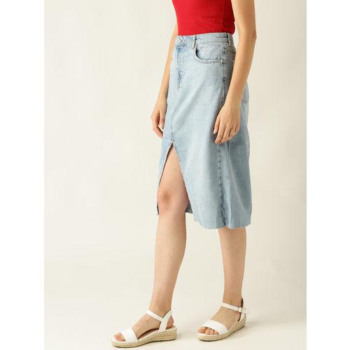 MANGO Women Blue Solid Denim Straight Skirt