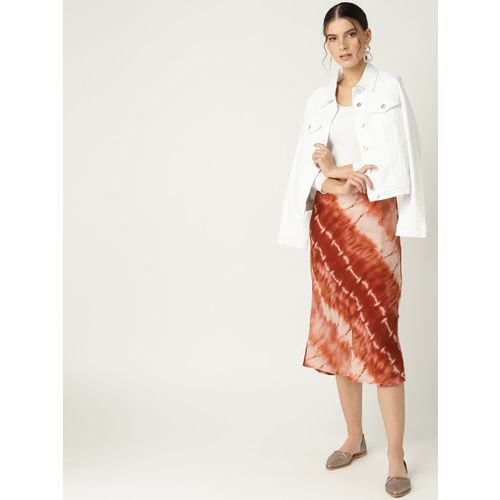 MANGO Women Rust Brown & Peach-Coloured Dyed Straight Midi Skirt With Satin Finish