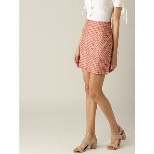 MANGO Women Red and Beige Checked Mini A-line Skirt