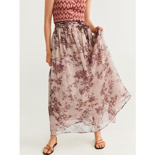 MANGO Women Beige & Brown Floral Print A-line Maxi Skirt
