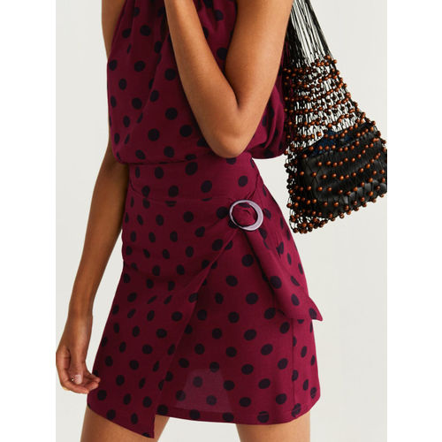 MANGO Women Burgundy & Black Polka Dot Print Mini Wrap Skirt