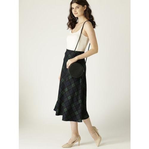 MANGO Women Black & Green Checked Midi A-Line Skirt