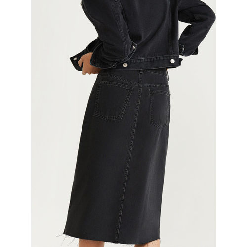 MANGO Women Black Solid Midi Straight Denim Skirt