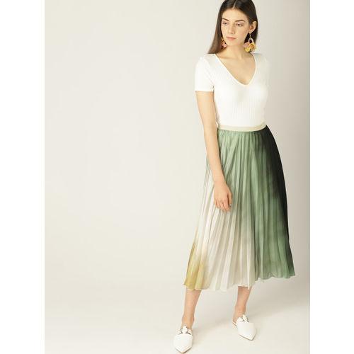 MANGO Women Green & Mustard Yellow Dyed Accordion Pleats A-line Skirt