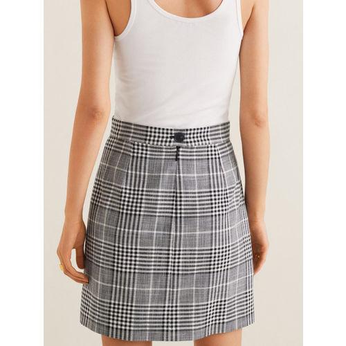MANGO Women Black and White Checked Mini A-line Skirt