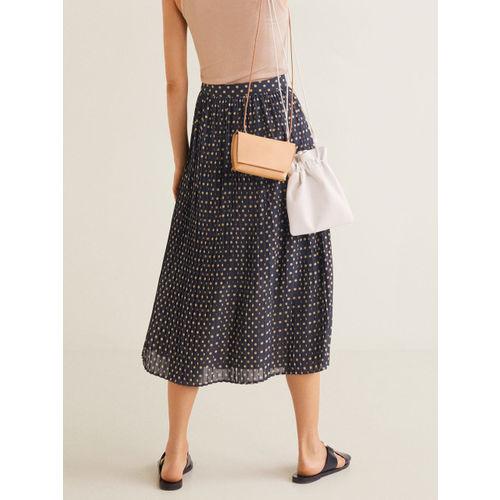 MANGO Women Navy Polka Dot Print Accordion Pleat A-line Skirt