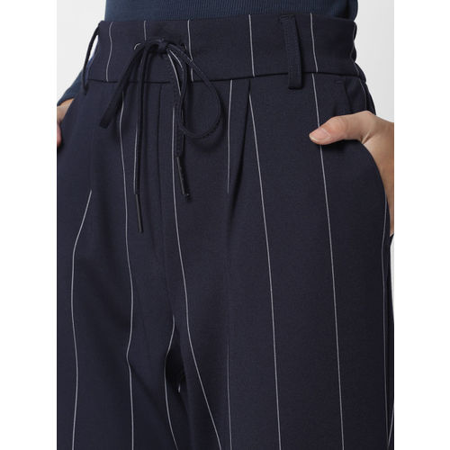 ONLY Women Navy Blue & White Slim Fit Striped Cropped Trousers